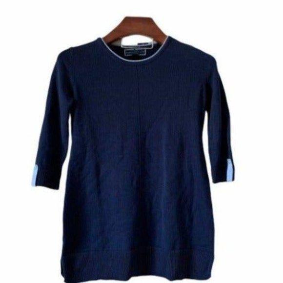 Women's Rolled-neck Blue Sweater-XS